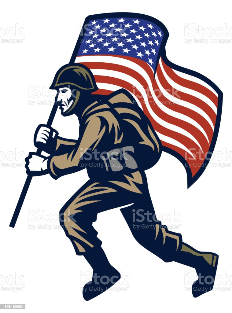 Military Soldier carrying the United States flag vector art illustration