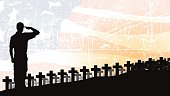 "US Military Soldier Cemetery - Holiday Background. Graphic silhouette background illustration of a Military Soldier saluting. Check out my ""World War Two"" light box for more."
