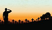 """US Military Soldier Cemetery - Holiday Background. Graphic silhouette background illustration of a Military Soldier saluting. Check out my """"World War Two"""" light box for more."""
