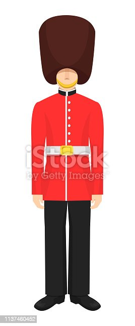 Military soldier character people of the royal guards of Great Britain. Guardsman in a red uniform and fur hat, as a symbol of Britain. Vector illustration.
