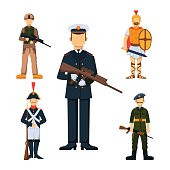Military soldier character weapon symbols armor man silhouette forces design and american fighter ammunition navy camouflage sign vector illustration