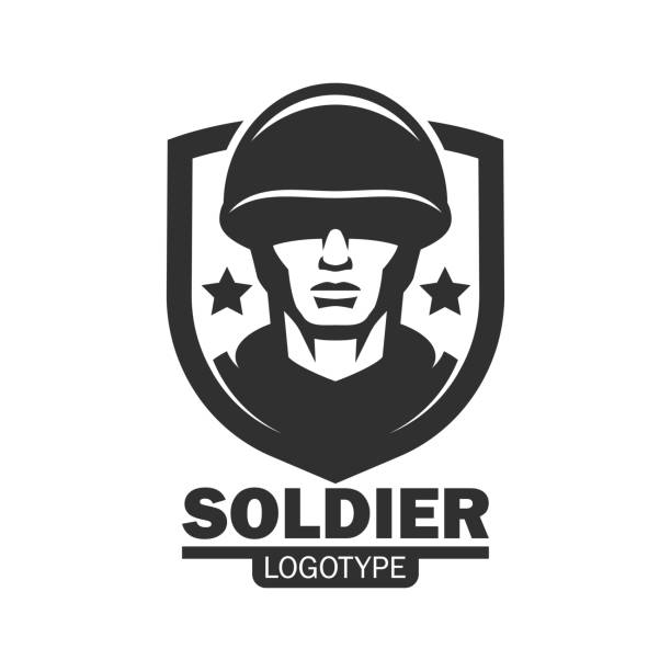 military soldier logo mascot template. soldier special force vector icon. warrior mascot - army soldier stock illustrations, clip art, cartoons, & icons