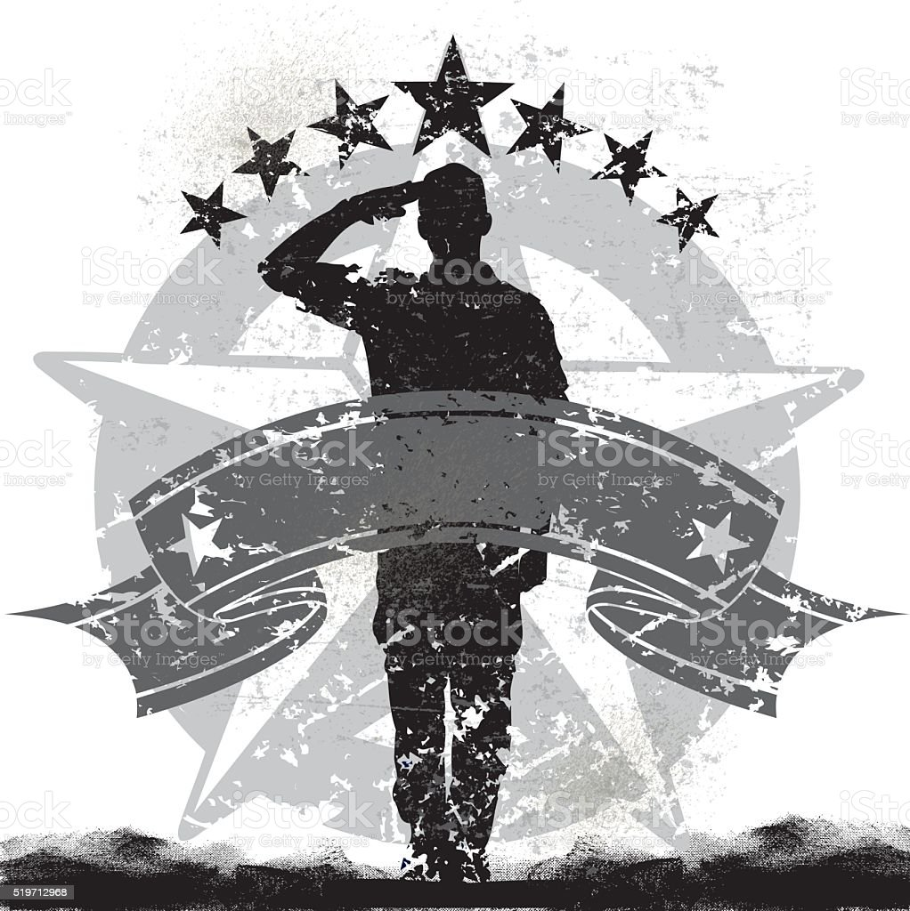 US Military Soldier or Boy Scout Saluting Background vector art illustration