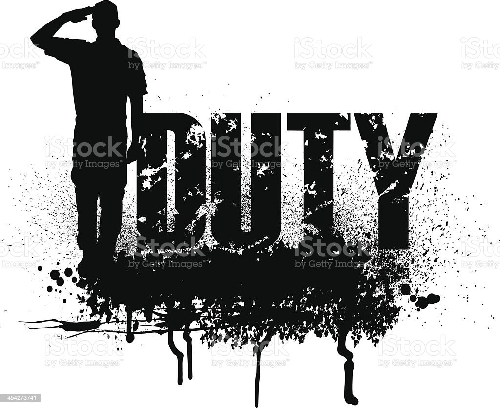 Military Soldier or Boy Scout saluting - duty royalty-free stock vector art