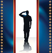 "Military Soldier Salute Background. Military Soldier Salute silhouette background illustration. Check out my ""World War Two"" light box for more."