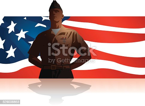 Graphic silhouette background illustration of Military Soldier Salute US Flag. Check out my