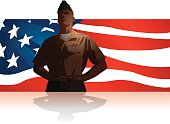 Military Soldier Salute US Flag Background