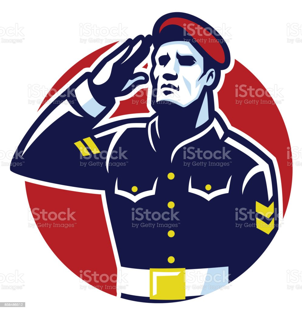 Military Soldier Salute vector art illustration