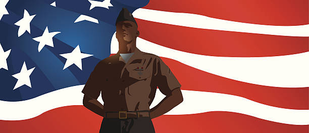 "US Military Soldier Standing at Attention with Flag Background Graphic silhouette background illustration of a US Military Soldier Standing at Attention with Flag. Check out my ""World War Two"" light box for more. major military rank stock illustrations"