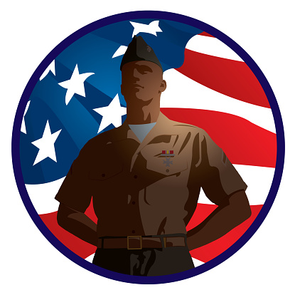 US Military Soldier with American Flag Background
