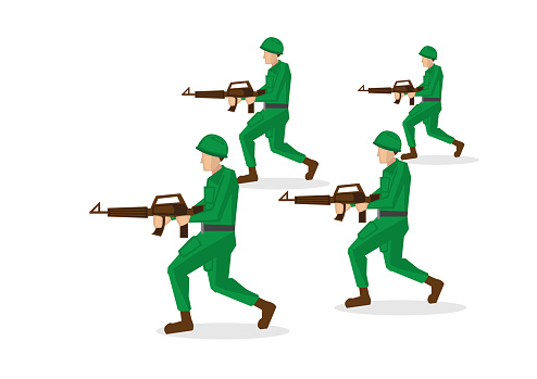 Military soldiers in green uniform running and attacking. Vector illustration isolated on white background.