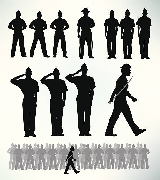 "US Military Soldiers - Standing at Attention, Salute US Military Soldiers - Standing at Attention, Salute silhouette illustrations. Make your own Army. Check out my ""World War Two"" light box for more. major military rank stock illustrations"