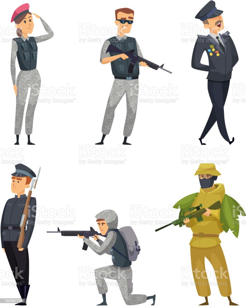 Military Soldiers With Various Weapons Vector Characters Stock