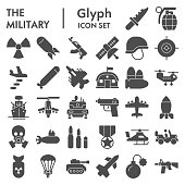 Military solid icon set. Army signs collection, sketches, logo illustrations, web symbols, glyph style pictograms package isolated on white background. Vector graphics.