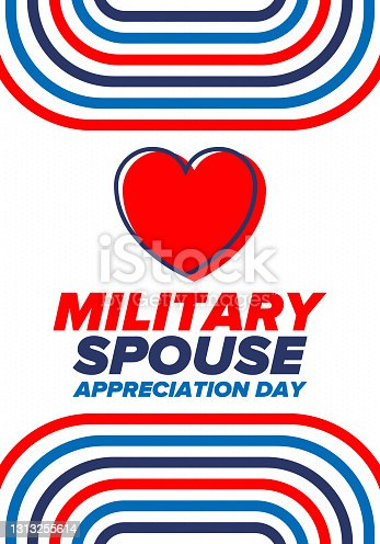 istock Military Spouse Appreciation Day. Celebrated in the United States. National Day recognition of the contribution, support and sacrifice of the spouses of the Armed Forces. Poster, card, banner. Vector 1313255614