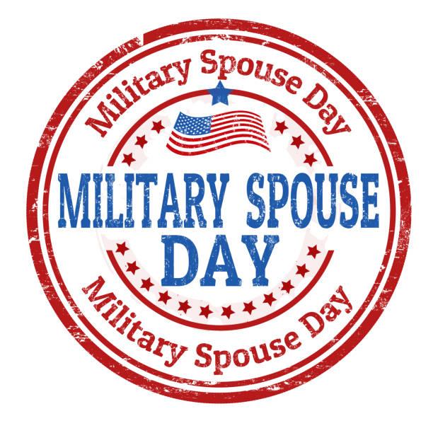 ilustraciones, imágenes clip art, dibujos animados e iconos de stock de signo de día del cónyuge militar o sello - casados
