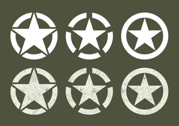 ilustrações, clipart, desenhos animados e ícones de estrelas do exército dos e.u. - forças armadas