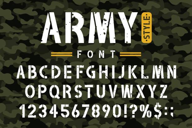 軍用模具字體的偽裝背景。復古軍風格中的粗蹩腳模字母數位 - 偽裝 幅插畫檔、美工圖案、卡通及圖標
