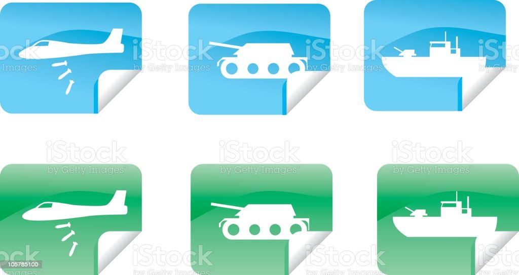 Military Sticker Set royalty-free stock vector art
