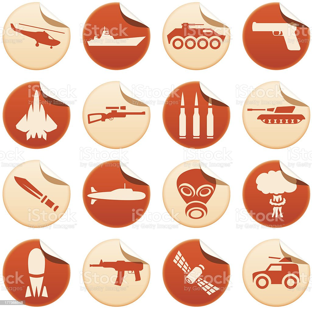 Military stickers vector art illustration