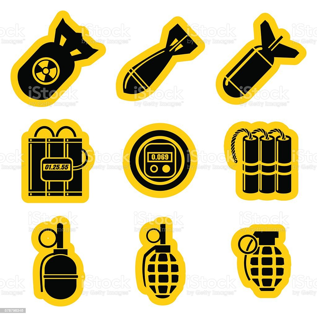 Military stikers vector set vector art illustration