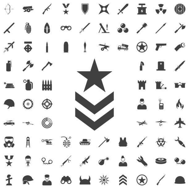 ilustrações, clipart, desenhos animados e ícones de imagem de ícone do símbolo militar - forças armadas