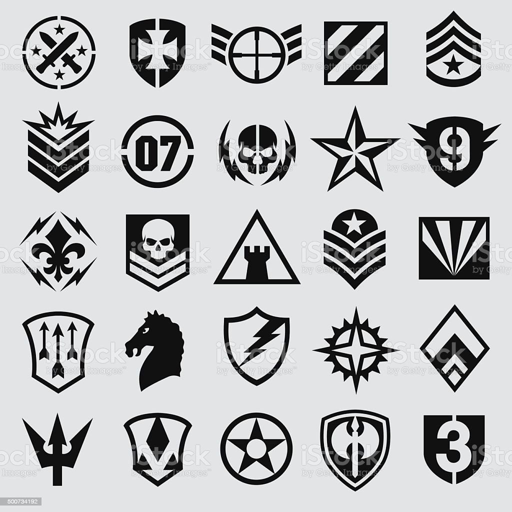 Military Symbol Icons Set Stock Vector Art & More Images ...