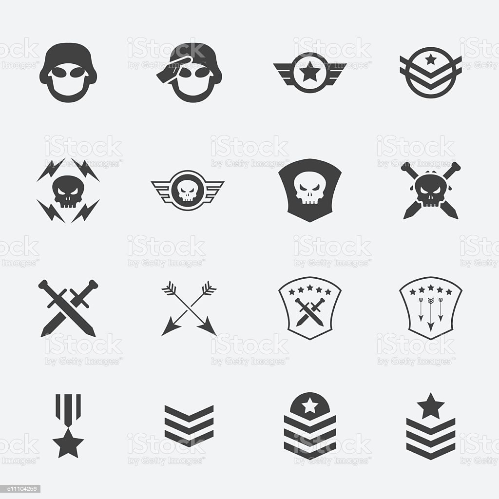 Military Symbol Icons Vector Illustration Stock Vector Art More