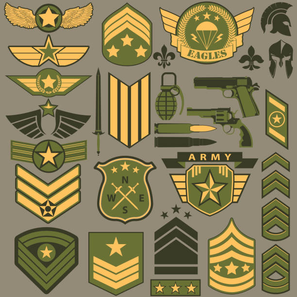military symbol set, army patches vector - army soldier stock illustrations, clip art, cartoons, & icons