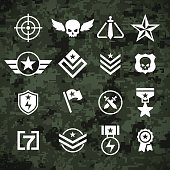 Modern military camoflage pattern and military army and combat symbols. Included is a reticle, crosshair, stars, ranks, ribbons and other symbols. EPS 10 file. Transparency effects used on highlight elements.