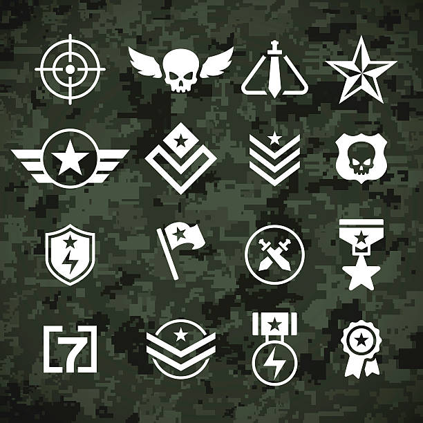 ilustrações, clipart, desenhos animados e ícones de militares e camoflage padrão símbolos - forças armadas