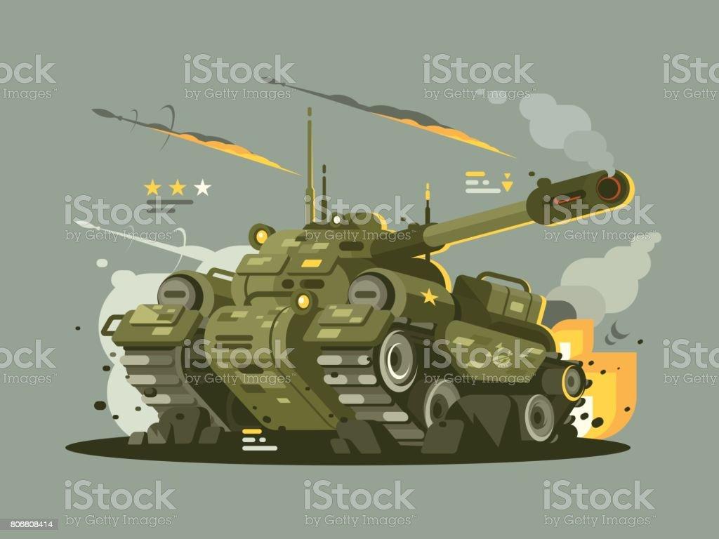 Military tank in fire vector art illustration