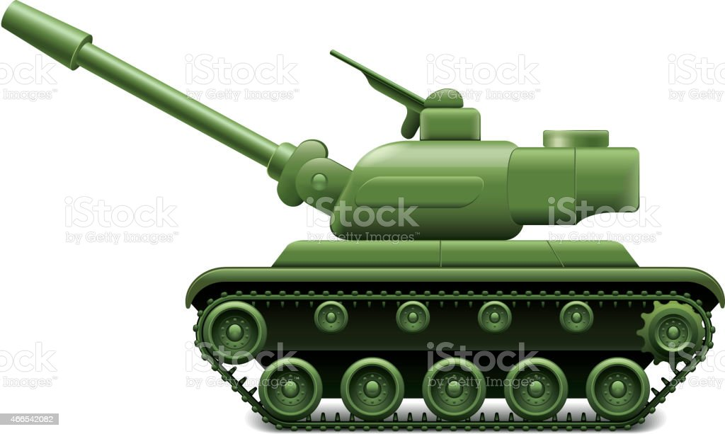 Military tank isolated on white vector vector art illustration