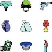 Military theme icons set, cartoon style