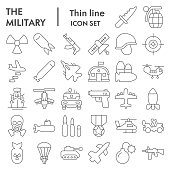 Military thin line icon set. Army signs collection, sketches, logo illustrations, web symbols, outline style pictograms package isolated on white background. Vector graphics.