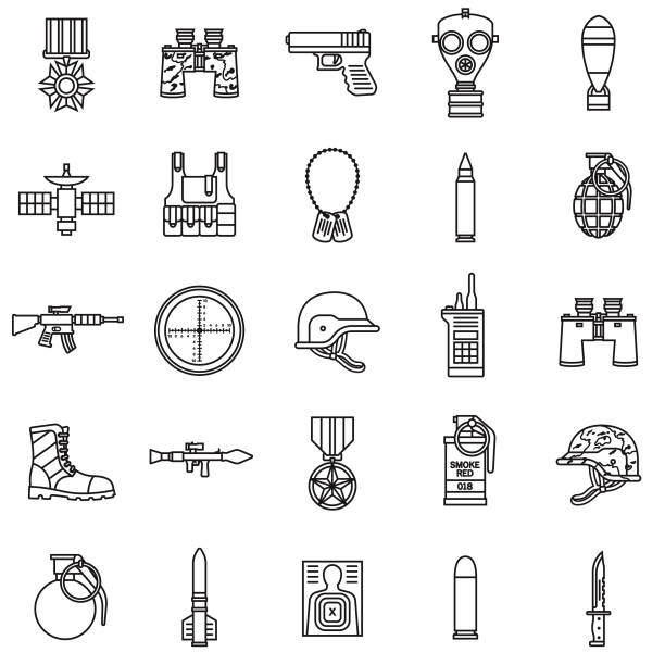 Military Thin Line Icon Set A set of icons. File is built in the CMYK color space for optimal printing. Color swatches are global so it's easy to edit and change the colors. weapon stock illustrations