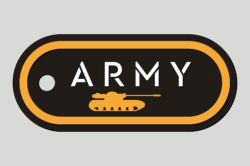 Military Token. Emblem of Army. Army Badge. Design Elements for Military Style Jackets, Shirt and T-Shirts