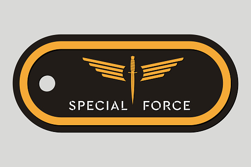 Military Token. Emblem of Special Force. Army Badge. Design Elements for Military Style Jackets, Shirt and T-Shirts