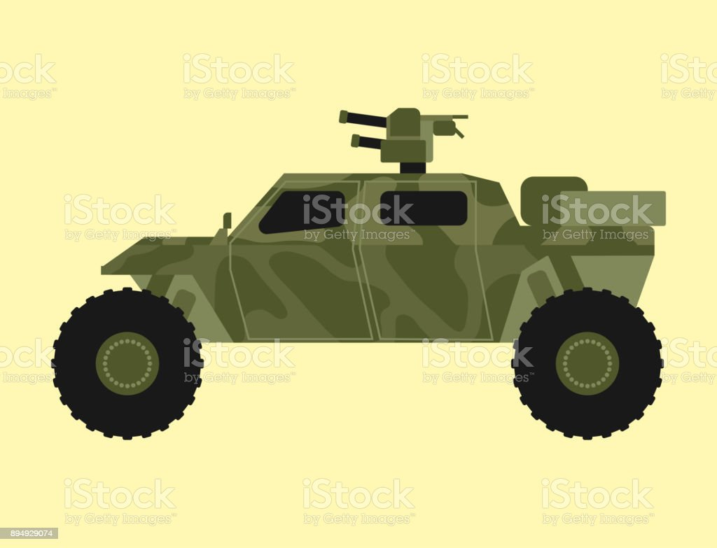 Military transport technic army war tank industry technic armor system armored personnel camouflage carriers weapon vector illustration vector art illustration