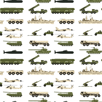 Military transport technic army war tanks industry technic armor system armored personnel camouflage seamless pattern background vector illustration