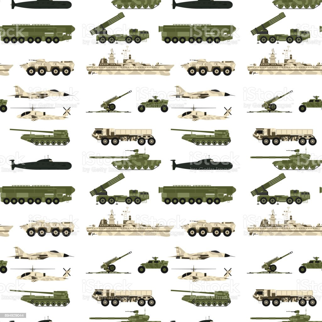 Military transport technic army war tanks industry technic armor system armored personnel camouflage seamless pattern background vector illustration vector art illustration