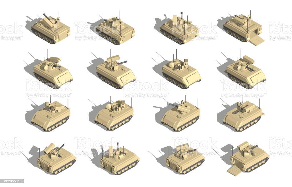 軍事輸送アイソメベクトル対空砲塔を持つ装甲人員キャリア - 3Dの ...