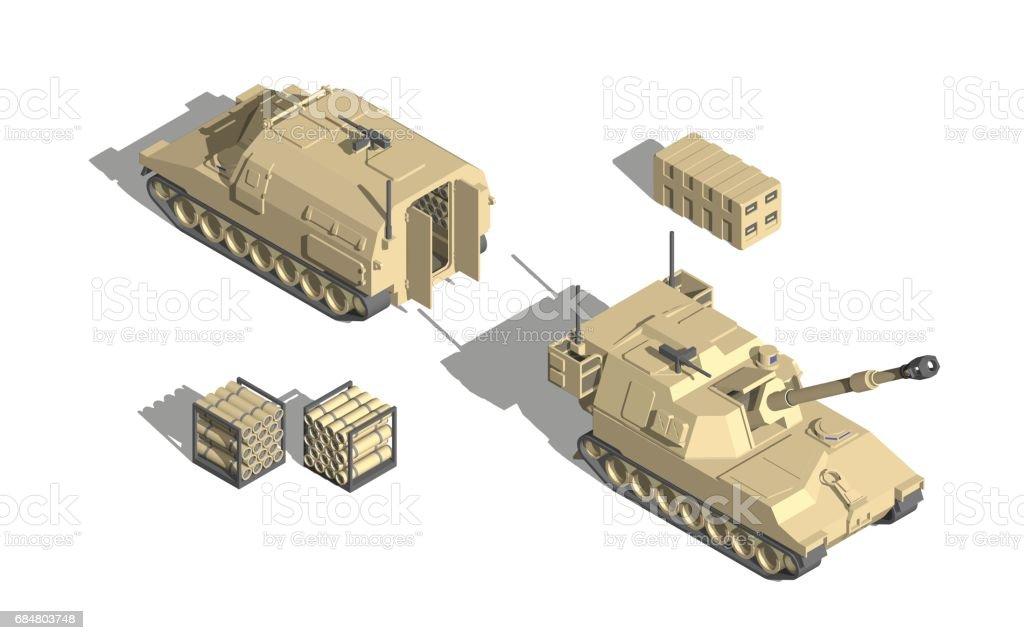 軍事輸送アイソメベクトルフィールド大砲弾薬支援車両 - 3Dのベクター ...