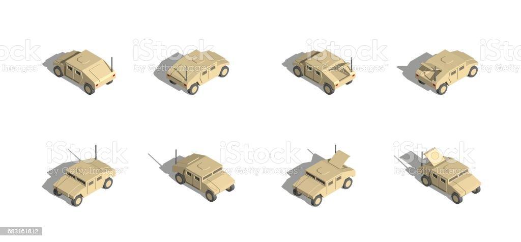 Military Transportation isometric vector. light utility vehicle. royalty-free military transportation isometric vector light utility vehicle 3차원 형태에 대한 스톡 벡터 아트 및 기타 이미지