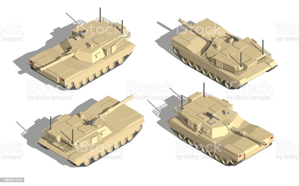軍事輸送アイソメベクトル機関銃を持つタンク - 3Dのベクターアート ...