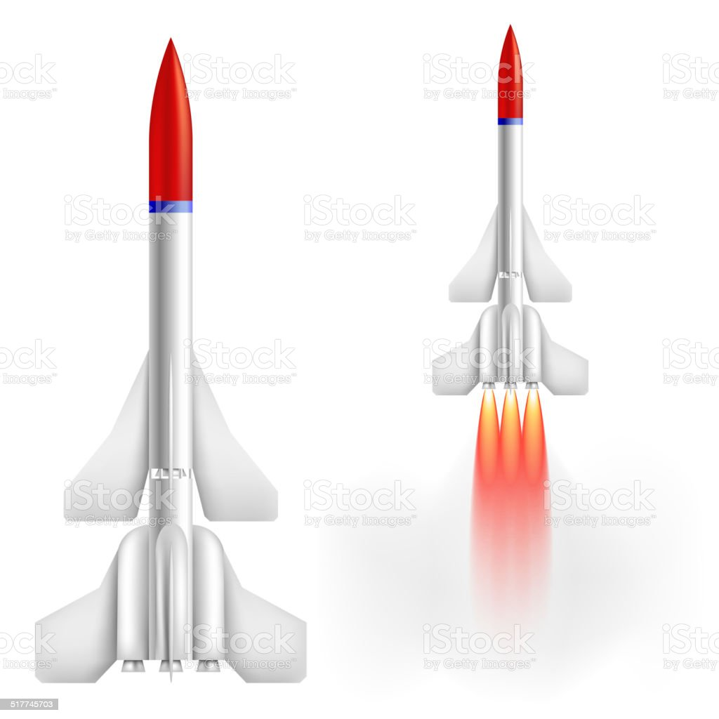 Military two-stage rocket vector art illustration