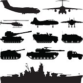 Various military vehicles.