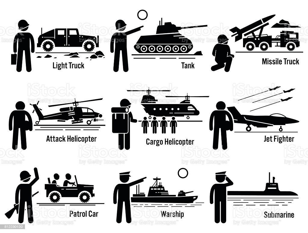 Military Vehicles Army Soldier Transportation Set Illustrations vector art illustration