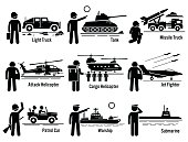 Military Vehicles Army Soldier Transportation Set Illustrations