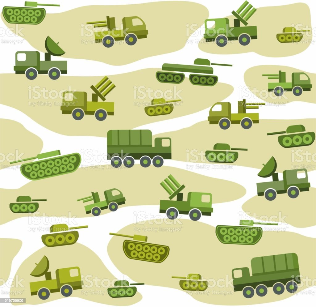 Military vehicles, color, seamless background. vector art illustration